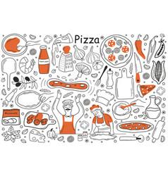 Pizza doodle set vector