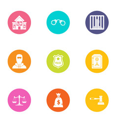Police force icons set flat style vector