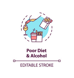 Poor diet and alcohol concept icon vector