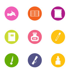 printing ink icons set flat style vector image