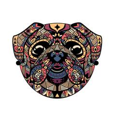 pug head entangle stylized vector image