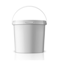 Realistic 3d white plastic bucket for food vector