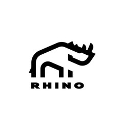 rhino linear logo in a minimalist style vector image