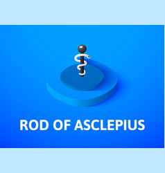 Rod of asclepius isometric icon isolated on color vector