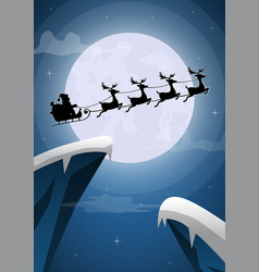 santa claus and reindeer sleigh flying on vector image