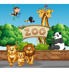 Scene with wild animals at zoo vector