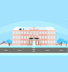 School building facade in winter time vector