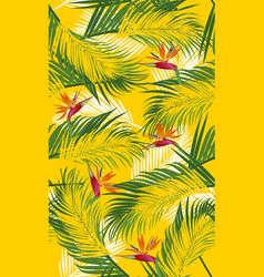 seamless pattern palm leaves with bird of vector image