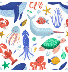 Seamless pattern with cute happy marine animals vector