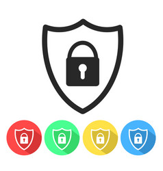 Security shield or virus shield lock line art vector