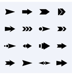 set of black arrows on a light background vector image vector image
