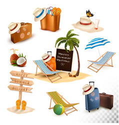 set of vacation related icons vector image