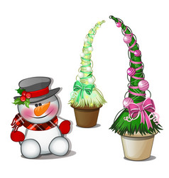 snowman in black top hat and topiary in form vector image