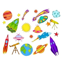 Space objects sketch set colored vector image