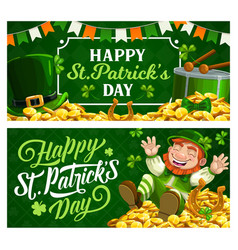 st patrick day cartoon banners with leprechaun vector image
