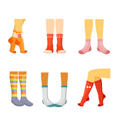 stylish socks on legs set elegant womens red vector image