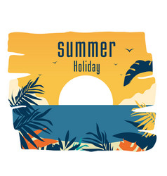 summer holiday sunset jungle leaves background vec vector image