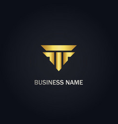 t initial shape building gold logo vector image