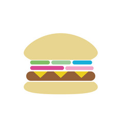 Tasty and fresh hamburger fast food vector