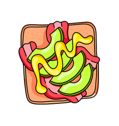 tasty fresh sandwich with cutted green olives and vector image