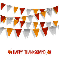 thanksgiving day flags garland on white vector image