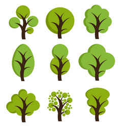 tree icons set of trees vector image