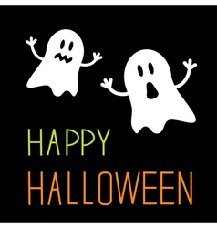 Two funny Halloween ghosts Card vector