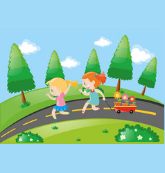 Two girls pulling wagon on the road vector