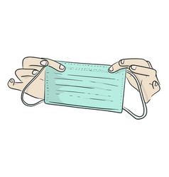 Two hands holding surgical mask in covid-19 vector