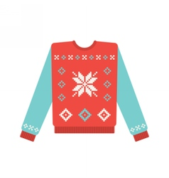 Ugly christmas sweater with snowflake pattern vector
