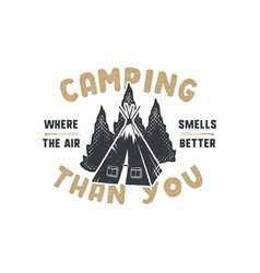 Vintage hand drawn camping badge and emblem vector