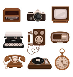 Vintage technologies set retro radio photo vector