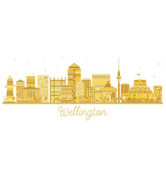 Wellington new zealand city skyline golden vector
