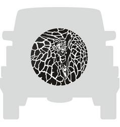 Wheel cover - giraffe vector