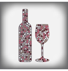 Wine bottle with glass and a glass of wine with vector