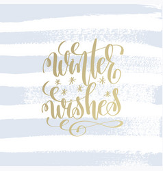 Winter wishes hand lettering holiday poster vector