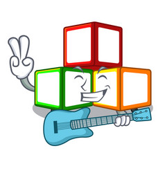 With guitar wooden toy with character wooden vector