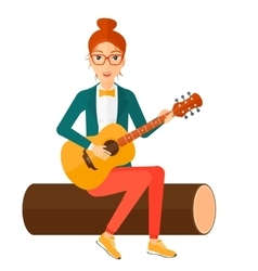 Woman playing guitar vector