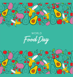 world food day background card in hand drawn style vector image