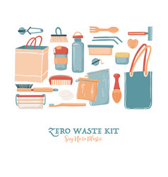 Zero waste objects for men in square shape vector