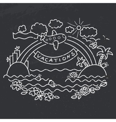 Freehand drawing - flight of airplane vector image vector image