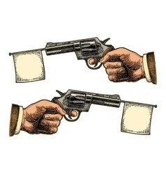 Male hand holding revolver with flag for text vector image