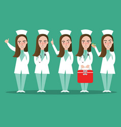 nurse standing medical staff in many position vector image