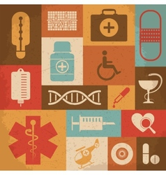 Retro Medical Icons vector image