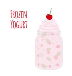 frozen yogurt with cherry in mason jar sweet vector image vector image