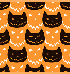 halloween seamless pattern with cats halloween vector image vector image