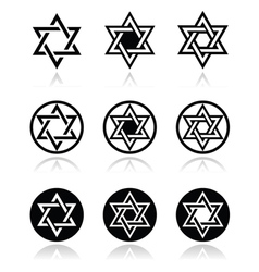 Jewish Star of David icons set isolated on white vector image vector image