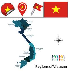 map of vietnam with regions vector image