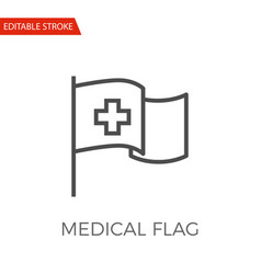 medical flag icon vector image vector image