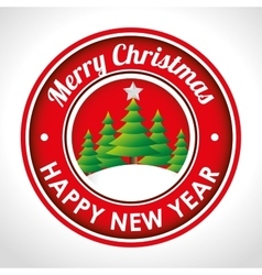 merry christmas emblem happy new year tree and vector image